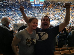 BYU in the NIT tourney with 6 of my siblings! I can't find the pic with all of them...