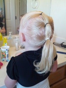 Cali couldn't see her hair in the back so we had to take a picture so she could decide if she  liked it.