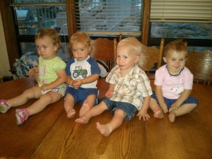 ALL 4 BABIES - first time we've had them all together
