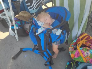 nap time - the only way to put him out is walking in the backpack!