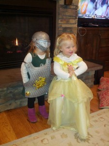 """I'm Princess Belle and this is my Knight, Ellie."" so so cute. Rose loves her princesses."