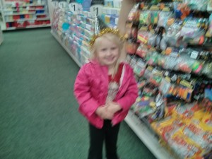 Cali got to go on her Dad night - she really wante dto go to the park and get pushed on the swings but the weather turned for the worse and the sun goes down too early so... she chose a trip to the dollar store and an ice cream!