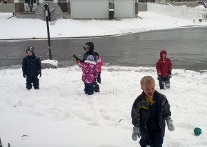 first snow day! the kids came home from school and played out in the cold until dark.