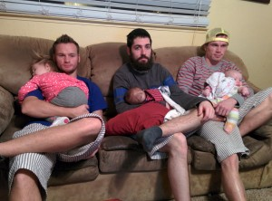 Sean and Kins, John and Bren, Brady and Millie... watching some football