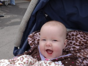 Millie being a Happy Baby. Ben took care of her and got her to sleep. She was too young to notice any of the animals.