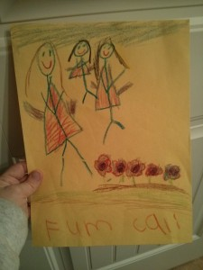 Cali drew a picture of us - she missed us. All the kids were EXCITED when we came home.