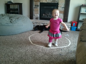 put a circle on the carpet and the kids play for days