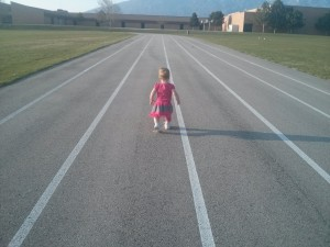 she ran a whole lap - just trying to stay ahead of mom
