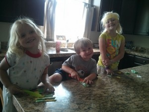 these kids helped me make the cake and then played with the extra fondant for hours!