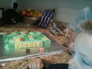 Packer took a lot of time deciding where each mine craft character should be on the cake!
