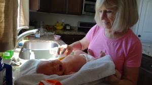 FIRST BATH - i think Grandma R has bathed all of these kids for their First bath.