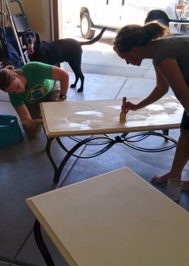 Tracie and I painting our tables