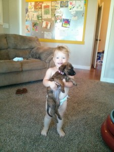 Brady and Mo got a puppy! Millie thinks Kiah is her puppy :)